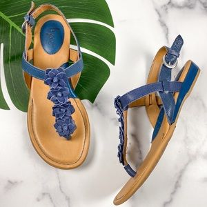 BOC Born Blue Flowers T-Strap Wedge Thong Sandals